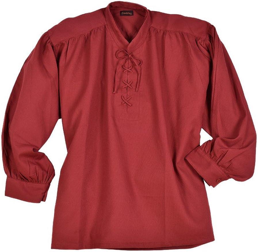 Battle-Merchant Camisa Medieval con Cuello Alto y Cordones ...