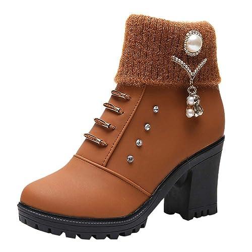 Botas para Mujer,Mujeres Damas cuadradas de tacón Alto de Cristal Tobillo Ankle Zapatos Botas