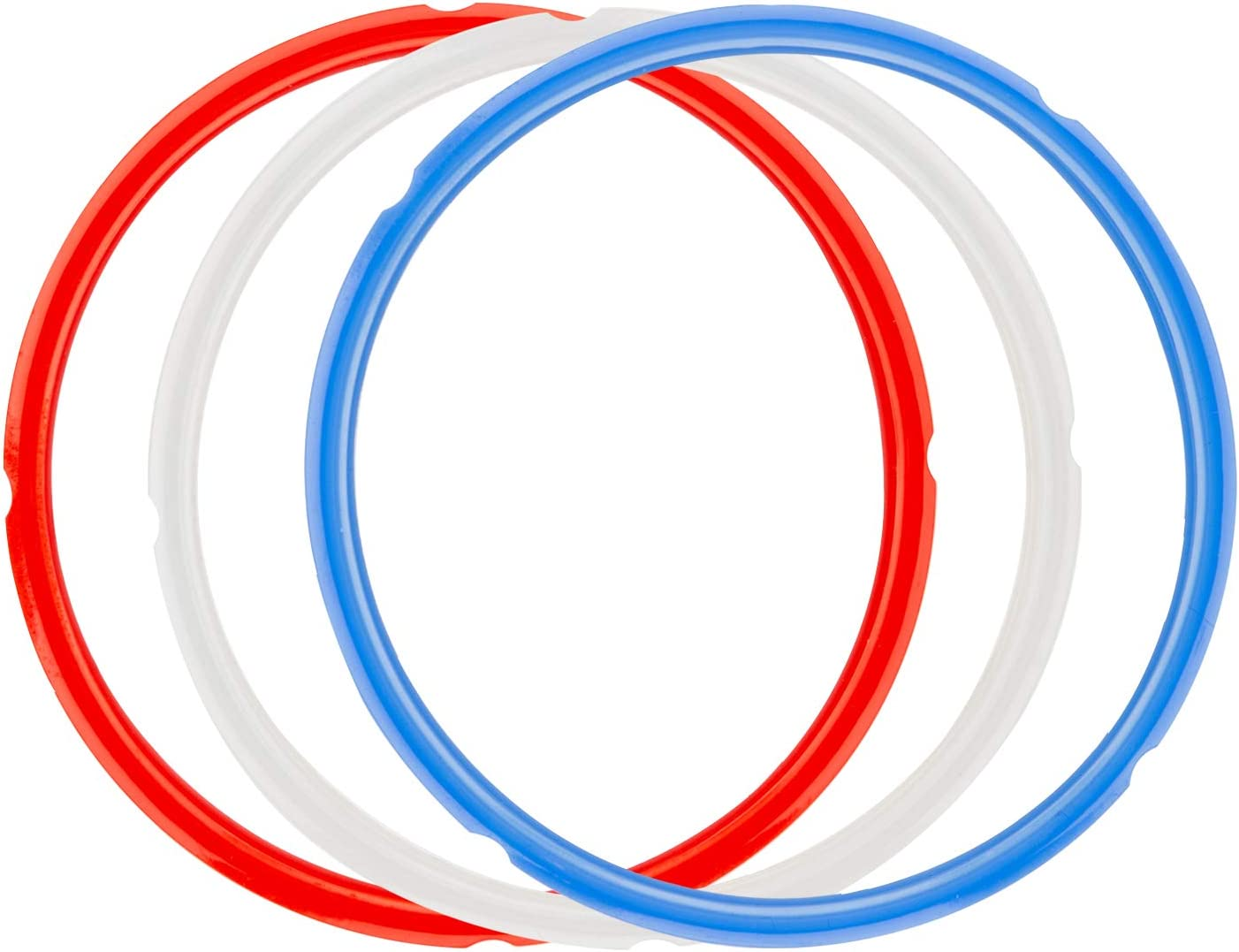 ZLR Sealing Ring for Instant Pot 5 qt / 6 Quart Fits IP-LUX 60,IP-Duo 60,IP-Duo Plus 60 Easy Clean Food Grade Silicone 3 Pack (Red,Clear and Blue)