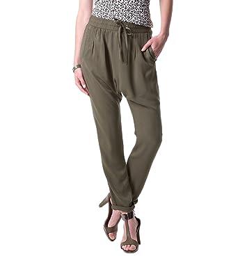 d5c7dc654cab5f Promod Pantalon sarouel femme Kaki clair 48: Amazon.fr: Vêtements et ...