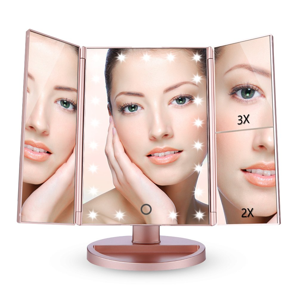 Easehold Vanity Makeup Mirror with 2 X 3X Magnifiers 21 LED Lights Tri-Fold 180 Degree Adjustable Countertop Cosmetic Bathroom, Rose Gold