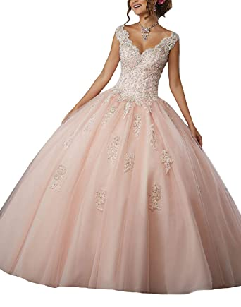 b3739e118 urph56456Kit Off The Shoulder V-Neck Beaded Quinceanera Dresses Sweet 16  Tulle Lace Appliques Prom Evening Ball Gowns at Amazon Women s Clothing  store