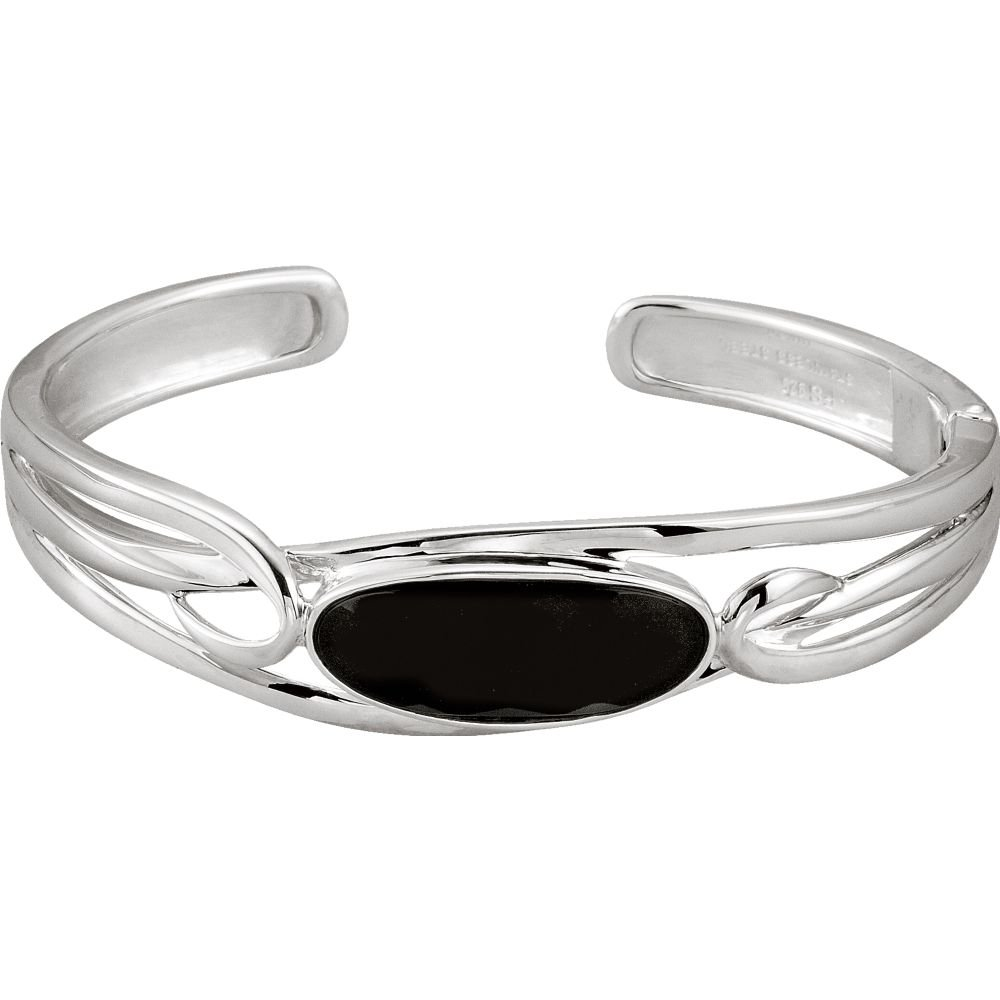 Onyx Hinged Cuff Bracelet in Sterling Silver