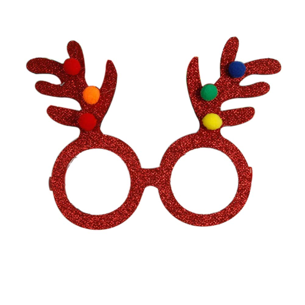 SuBoZhuLiuJ Shiny Christmas Cartoon Elk Horn Glasses Frame Xmas Party Decoration Photo Prop - Red