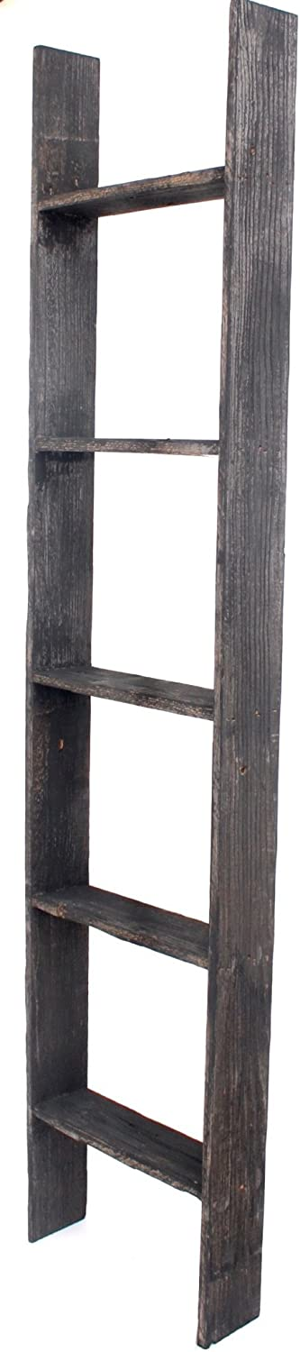 BarnwoodUSA Rustic Farmhouse Blanket Ladder - Our 5 ft Ladder can be Mounted Horizontally or Vertically and is Crafted from 100% Recycled and Reclaimed Wood | No Assembly Required | Black