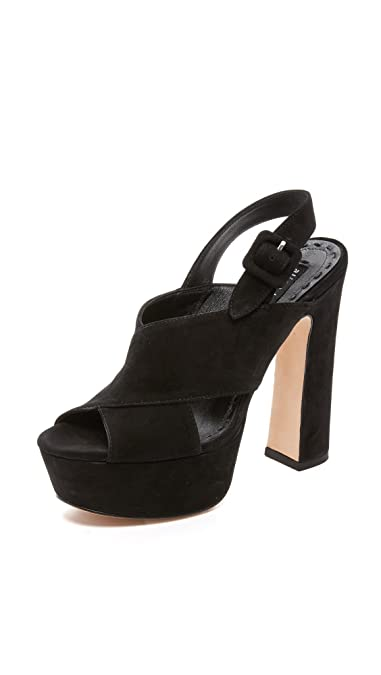 alice + olivia Women's Larissa Platform Sandals, Black, 39.5 EU (9.5 B(