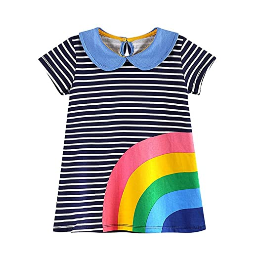 d3bed501f09 G-real Toddler Baby Girls Kids Cartoon Rainbow Applique Striped Casual  Straight Dress Playsuit For