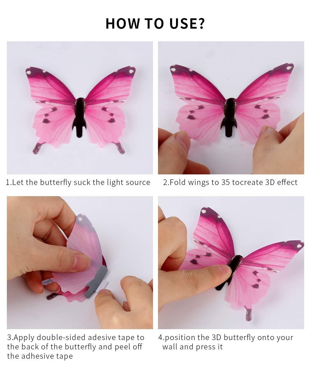 72 pegatinas de pared de mariposas 3D que brillan en la oscuridad multicolor para manualidades con mariposas