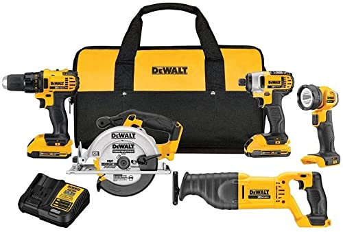 Dewalt DCK520D2R 20V MAX Cordless Lithium-Ion 5-Tool Combo Kit Renewed