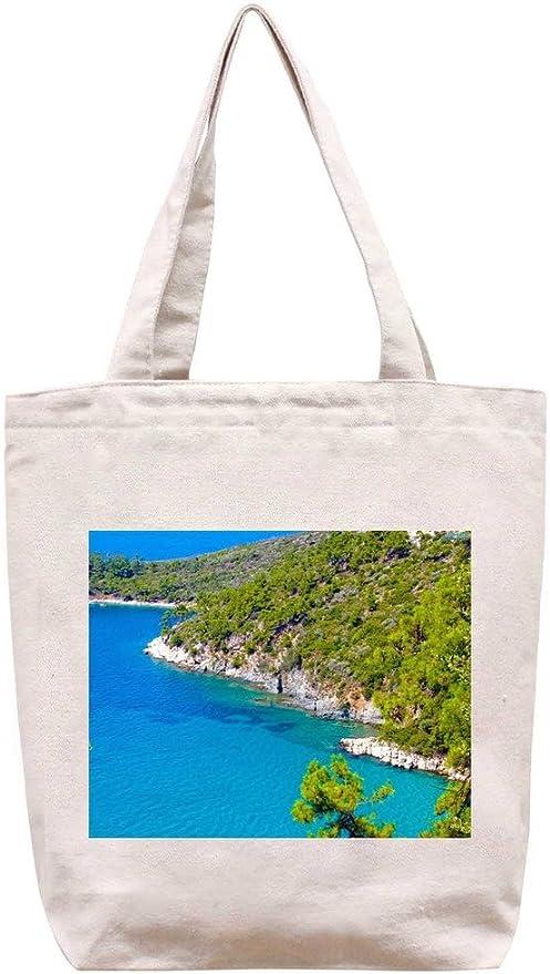 Skala Potamia - de la playa de lona del algodón bolso de mano: Amazon.es: Hogar