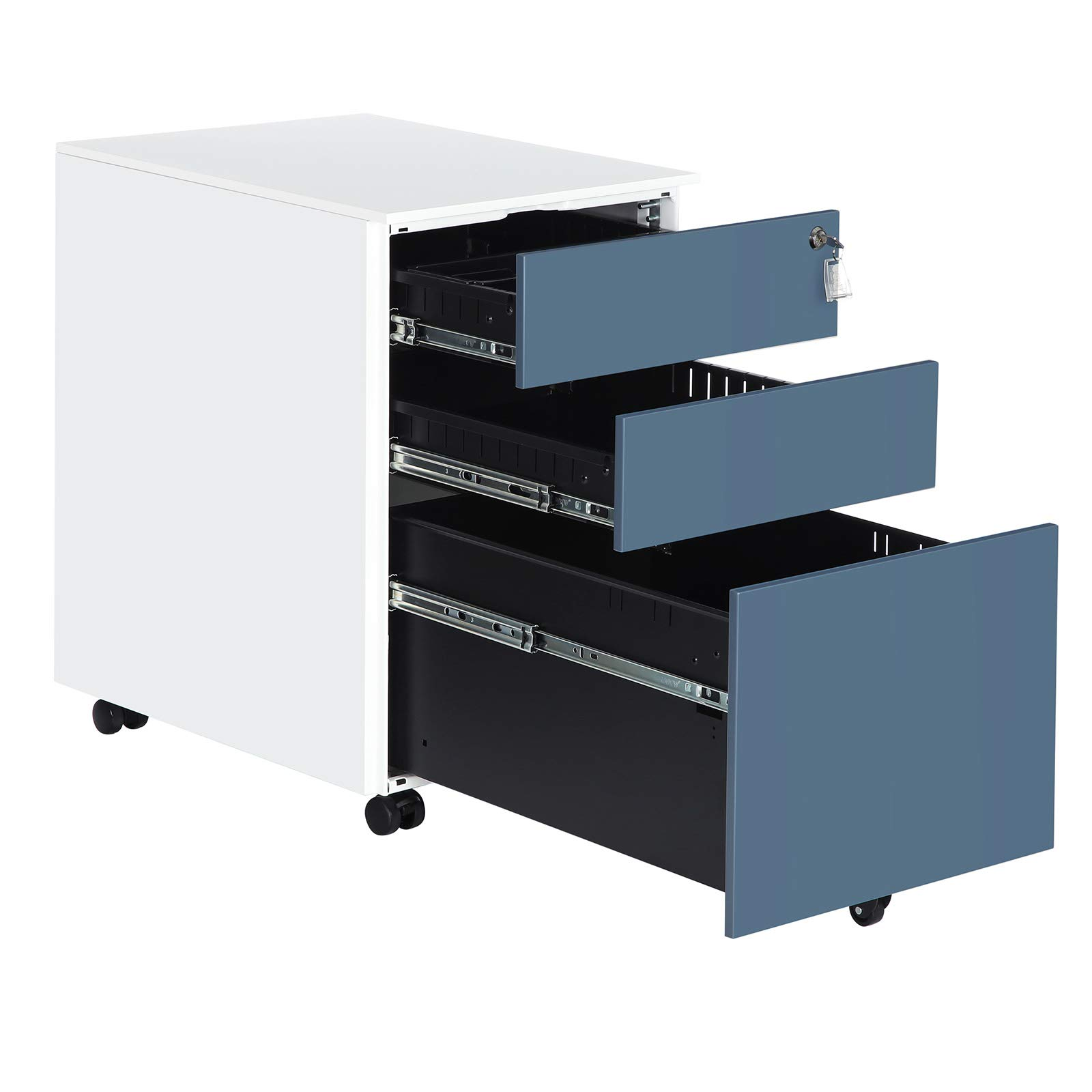 SONGMICS UOFC60WB Mobile File Cabinet, 20.5''L x 15.4''W x 23.6''H, White + Blue by SONGMICS