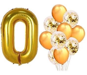 Amazon.com: PartyMart - Globos de oro con número 0 – 9 con ...