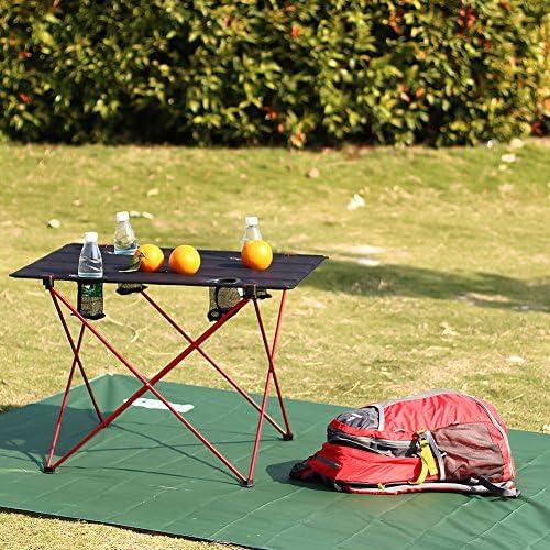 mesa de trabajo GOTOTOP Mesa de trabajo plegable de aleaci/ón de aluminio ajustable para camping picnic jard/ín 90 x 60 x 69,5 cm al aire libre