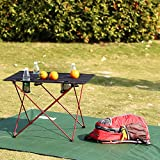 Outry Lightweight Folding Table Cup Holders, Portable Camp...
