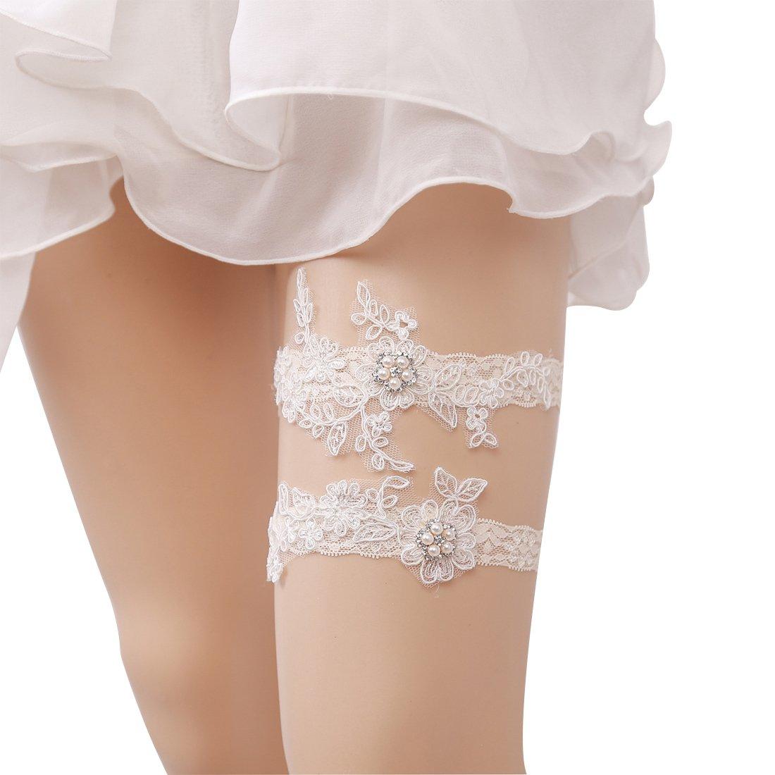 Minsto Bridal Ivory Floral Wedding Lace Retro Garters for Bride (J032)