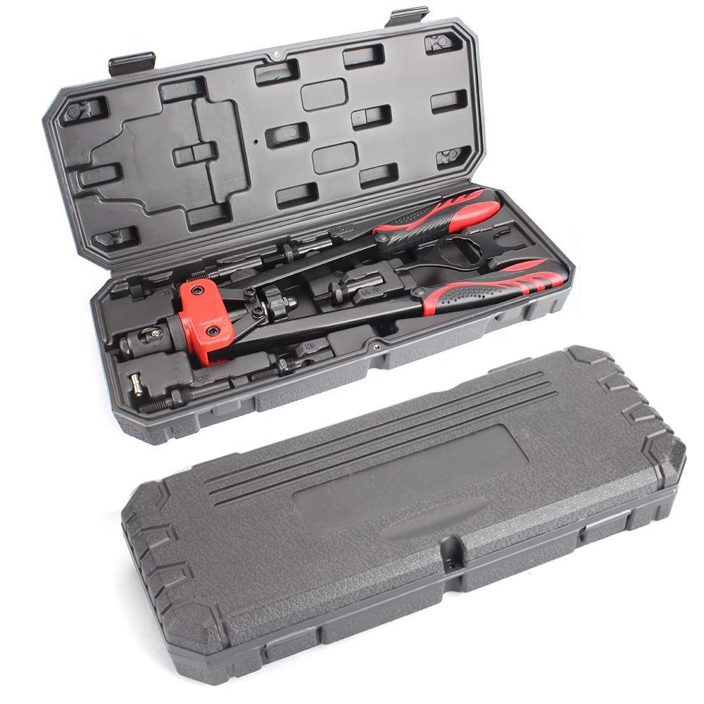 "14""Heavy Duty Hand Riveter,with Storage Box Include 6 Metric & SAE Mandrels and90pcs Rivet Nuts. by Moutec (Image #2)"