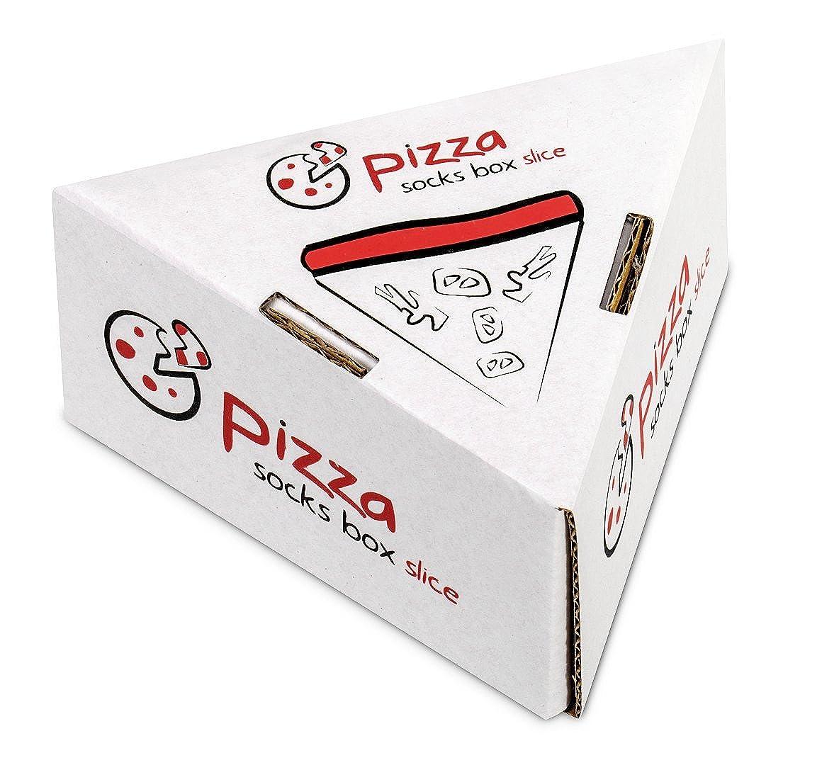 Italiana PIZZA SOCKS BOX SLICE 1 par de CALCETINES Divertidos de ALGADON Fun Gadget! Unicos y Originales Idea de REGALO Fabricado en EU para Mujer y Hombre: Tama/ños 36-40 y 41-46