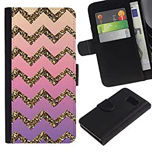 Billetera de Cuero Caso Titular de la tarjeta Carcasa Funda para Samsung Galaxy S6 SM-G920 / Gold Bling Pattern Stripe / STRONG