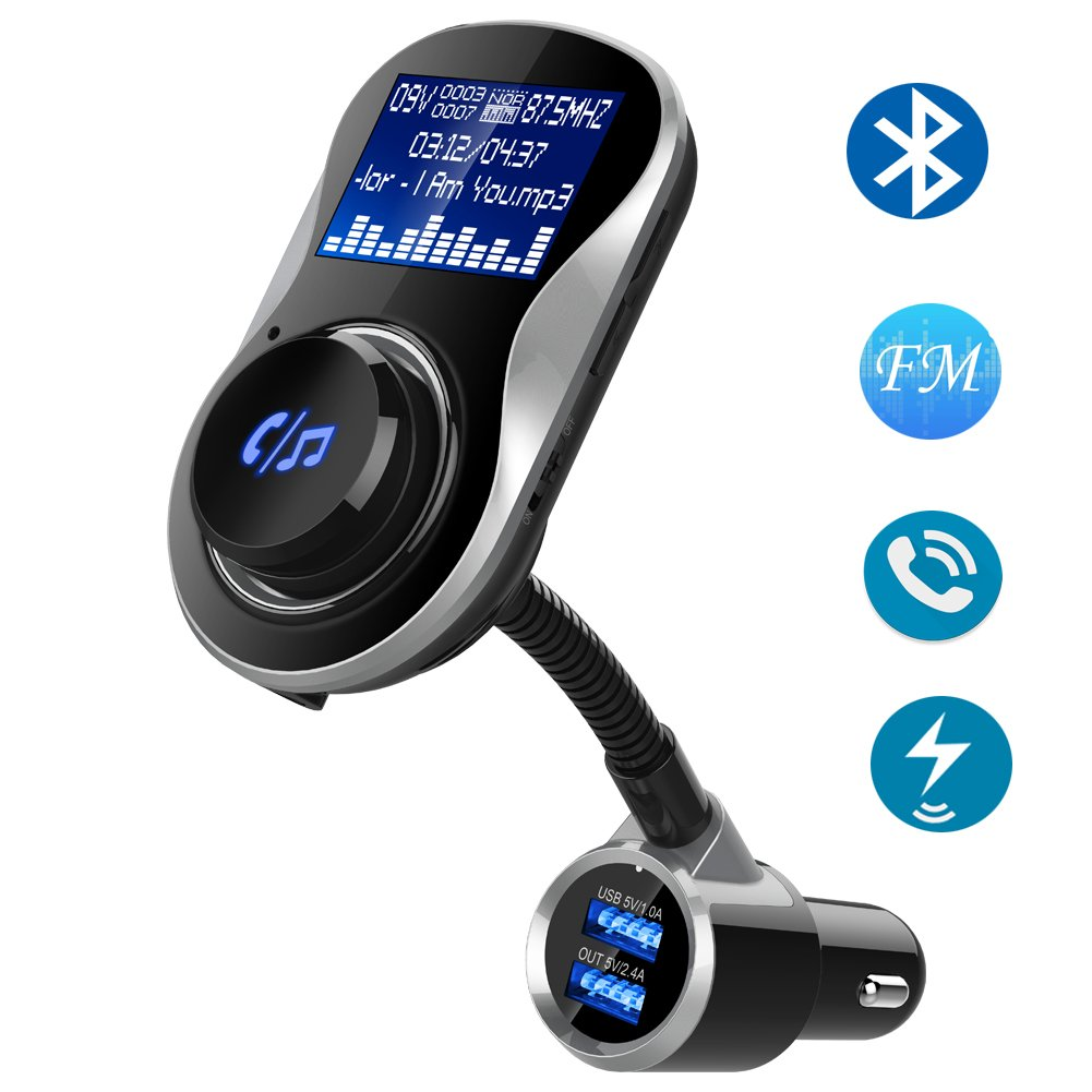 "Bluetooth FM Transmitter for Car, HIPPIH Wireless FM Transmitter Receiver, Dual USB Car Charger, Car Radio Adapter with 1.4"" Display Screen, Support AUX Input, TF Card & U Disk, Hands-free Calling"