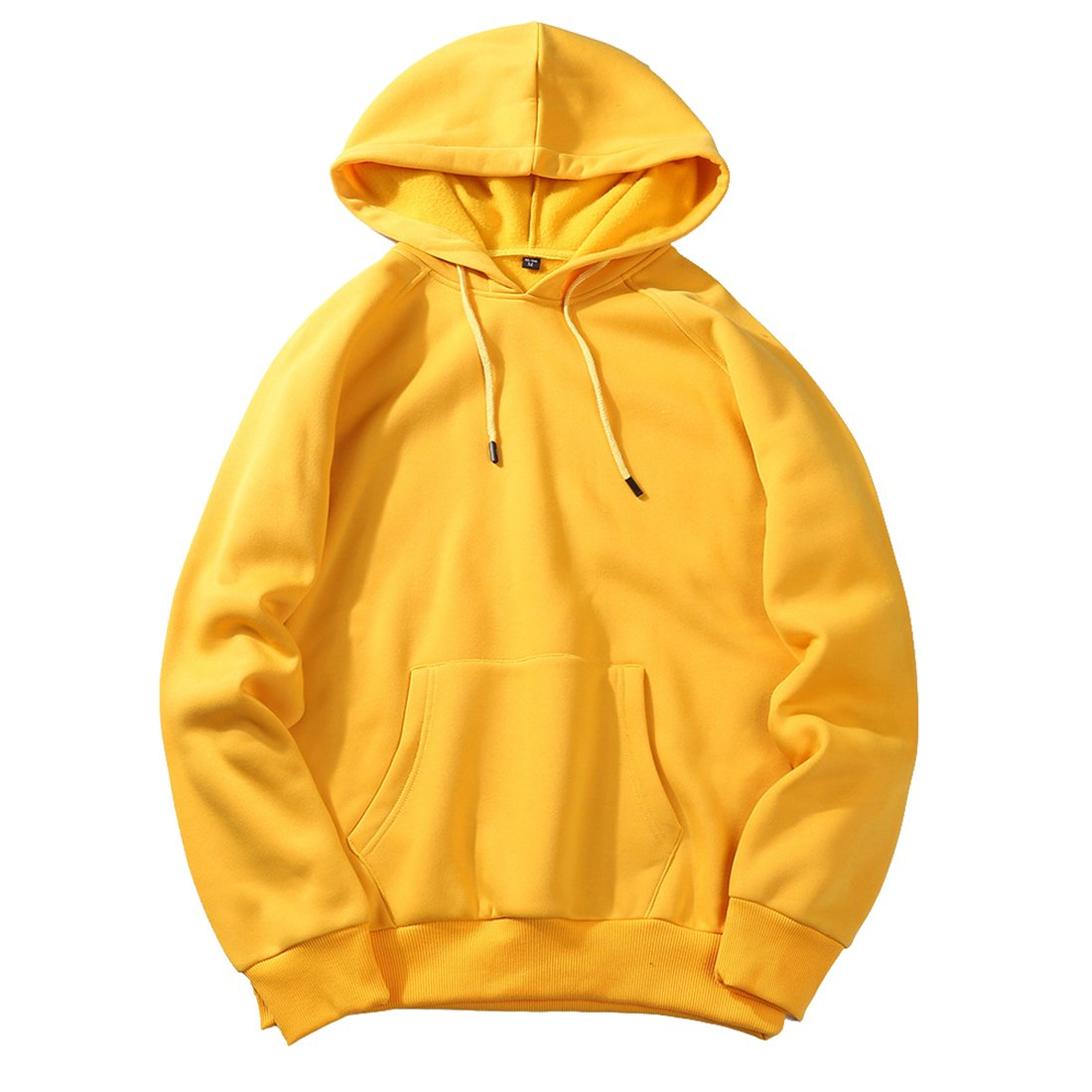 YYG Mens Activewear Stylish Loose Pure Color Pockets Plus Size Pullover Hooded Sweatshirt