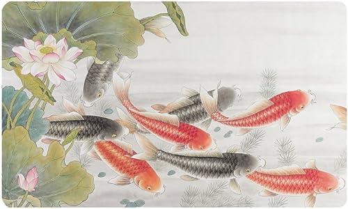INTERESTPRINT Oriental Asian Ink Koi Goldfish Painting Doormat Anti-Slip Entrance Mat Floor Rug Indoor Outdoor Door Mats Home Decor, Rubber Backing Large 30 L x 18 W