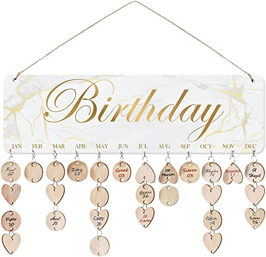Amazon.com: ElekFX Family Birthday Board Reminder Wall Plaque Wood