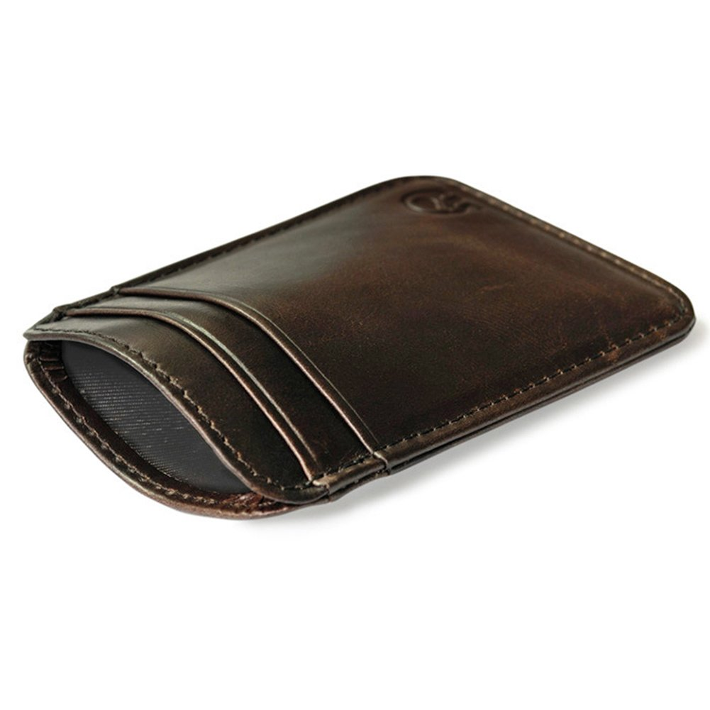 marrone QIWANG 5 a 12 Slot per schede Vintage Genuine Leather Wallet Slim tasca anteriore titolare della carta di credito titolare Card