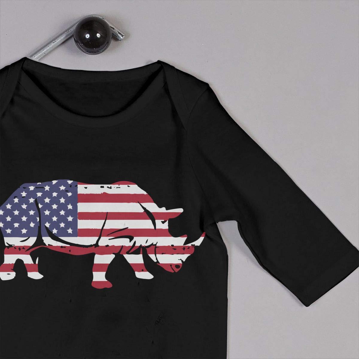 UGFGF-S3 American Flag Rhino Baby Boy Girl Long Sleeve Bodysuit Jumpsuit
