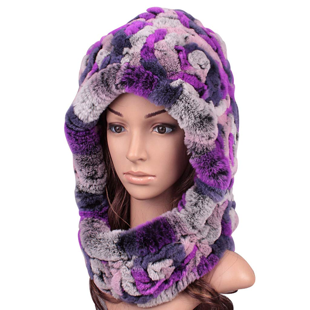 colorful 7 ClimbUp Womens Rex Rabbit Fur Hat Neck and Head Predected Winter Cap Warm Soft Stretch Beanie Skull