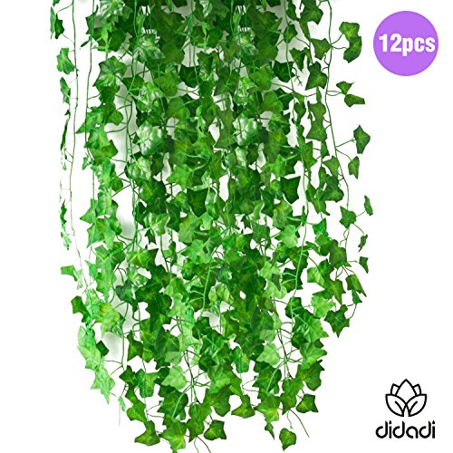 DIDADI 83 Ft-12 Pack Artificial Fake Hanging Plant Leaves Foliage Green Leaves Garden Wall Decoration Ivy Vine Plants For Home Decor (Spring Foliage)