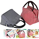 Lunch Bags, Danibos Solid Useful Linen Cotton Stripe 2pc Fashion Lunch Tote Bag Lunch Bag Grocery Bags with Zipper (Red&blue)