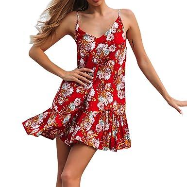 aa8d181ed93 Amazon.com  HHei K Women Bohemian Retro Floral Print Mini Sling Dress Sexy V  Neck Sleeveless Casual A-line Ruffle Dress  Clothing