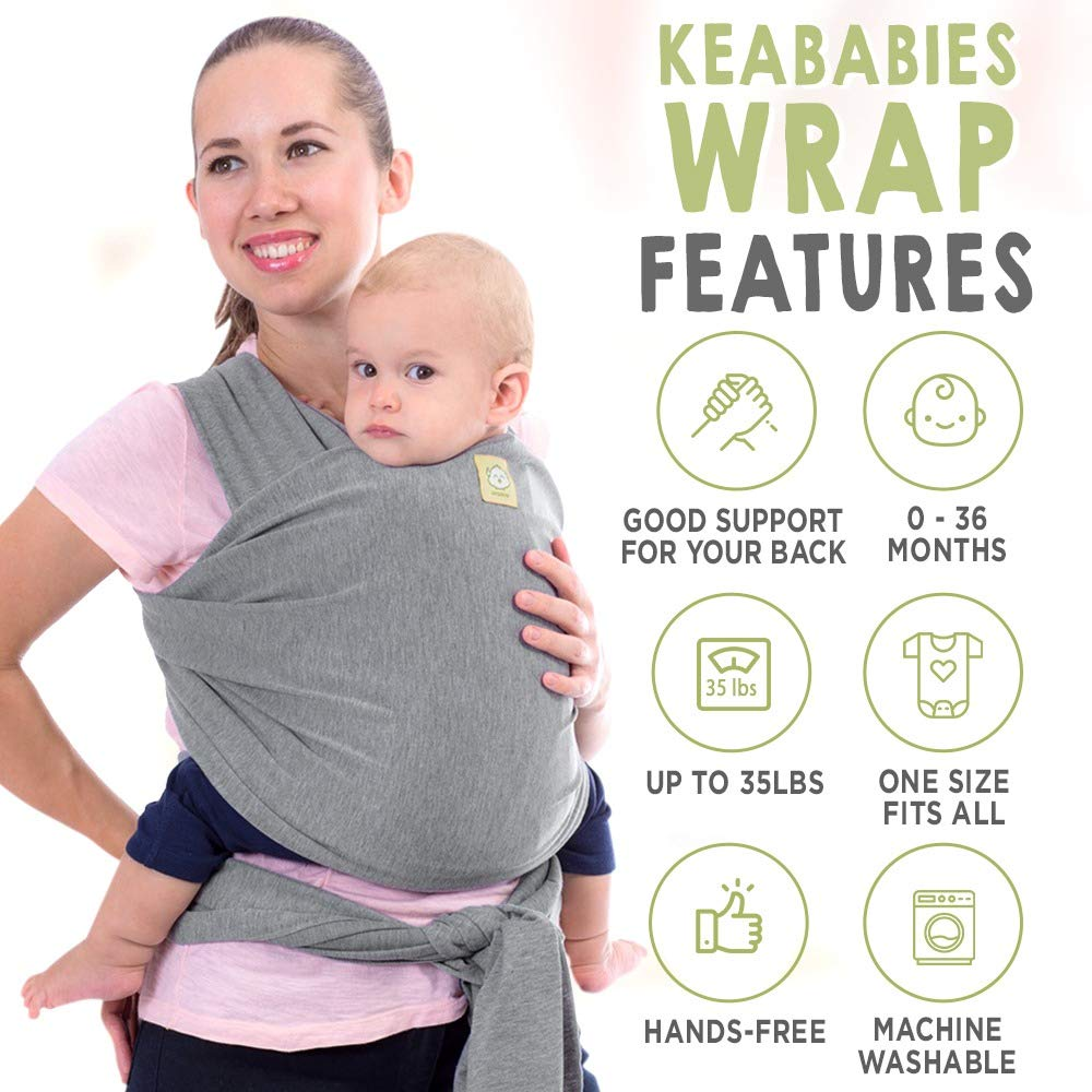 for Infants and Newborns 31.Baby Wrap Ergo Carrier Sling by CuddleBug GREY