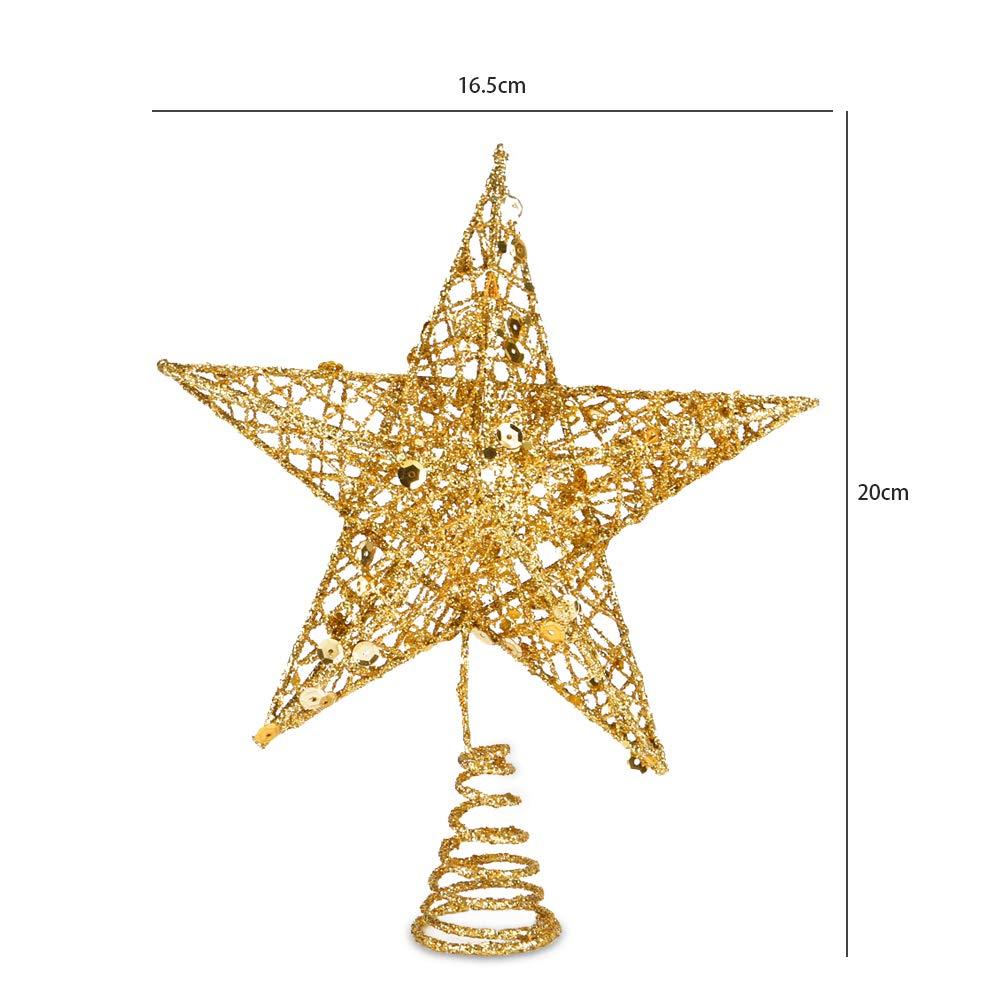 Amazon Com Christmas Tree Topper Star Bosiwee 20cm Gold Pentagram