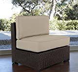 Serta Outdoor Collection Armless Chair with Thick 6 Inch Cushions, Beige/Dark Brown