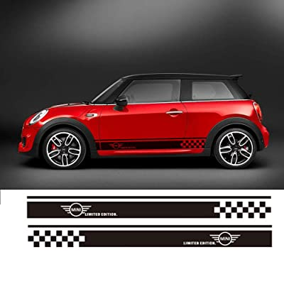 Charminghorse 2pcs Styling Car Side Racing Stripe Sill Skirt Vnyl Decal Stickers Limited Edition for Mini Cooper R50 R52 R53 R56 R57 R58 R59 2-Door (Gloss Black): Automotive