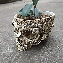 Skull Planter Resin Finish Skeleton Container Flowerpots For Decoration K0107