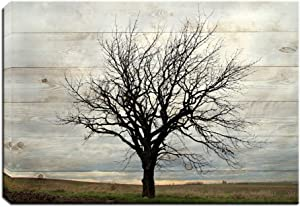 Artsbay Tree Canvas Wall Art Fall Trees on Wooden Backdrop Nature Landscape Pictures Painting Canvas Print Modern Stretched and Framed Tree Decor Art for Living Room Bedroom Bathroom Wall 16