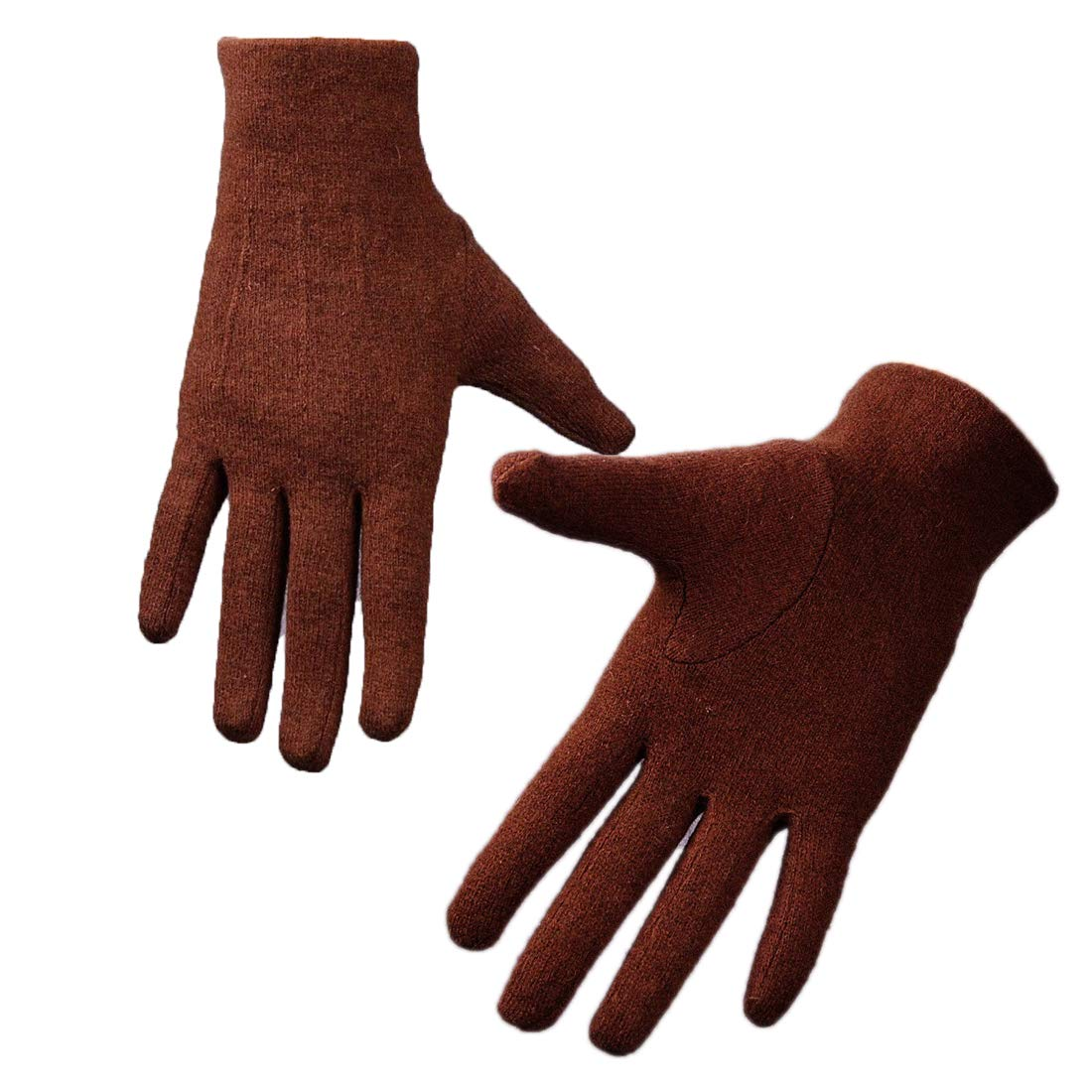 Wool Gloves Knitting Unisex Basic Minimal Handmade Winter (Gray)