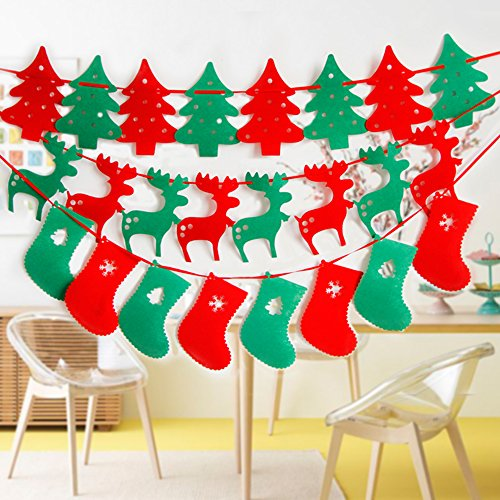 Merry Christmas Banners with Non-woven Fabrics Christmas Trees, Reindeers, Socks for Christmas Party Holiday Home (Decorate Fireplace Mantel Halloween)
