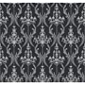 York Wallcoverings Black and White Chandelier Damask Wallpaper Memo Sample
