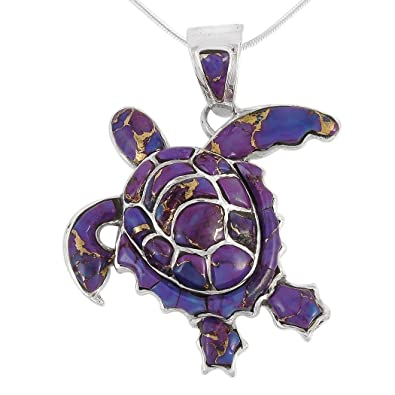 Amazon turtle pendant necklace in sterling silver 925 genuine turtle pendant necklace in sterling silver 925 genuine purple turquoise aloadofball Gallery