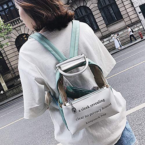 Pequeña mochila transparente de viaje con mensaje. Opción de colores.