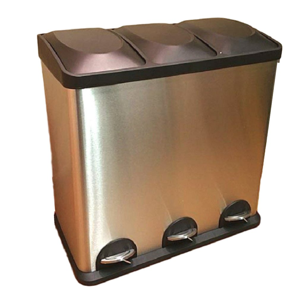 Triple Compartment Trash Can Smell Proof Garbage Kitchen Step Recycle Industrial Heavy Duty 60 Liter Bin & eBook