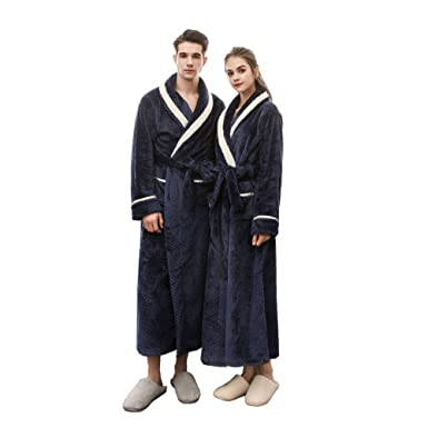 f271e47b17 SUNBABY Mink Cashmere Bathrobes Thicker Long Flannel Sleepwear Women Man  Couple Pajamas (Navy Blue