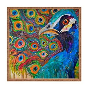DENY Designs Elizabeth St Hilaire Nelson Peter Peafowl Square Outdoor Tray, Medium