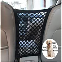 FALCALE Pet Barrier Dog Car Net Barrier with Auto Safety Mesh Organizer Baby Stretchable Storage Bag Universal for Cars, SUV, Truck -Easy Install,Safer to Drive with Children and Pets