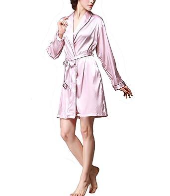 47e7657fb307 Femme Robe de Chambre Kimono Sexy Peignoir En Satin Manches 3 4 Avec, Ceinture