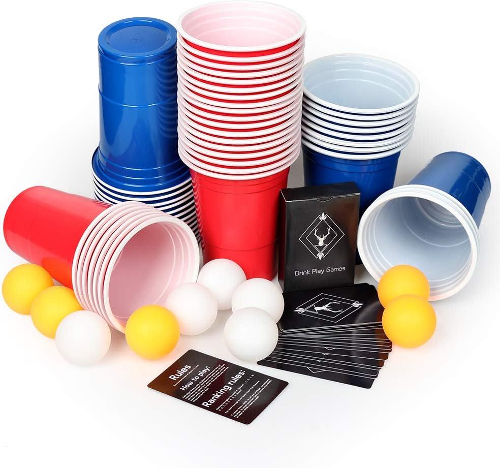 AOLUXLM Tazas de plástico, 50 Tazas de Cerveza Pong Tazas de Fiesta con 10 Bolas de Cerveza Pong + 1 Juego de Tarjetas de Juego, 16 oz Vasos Desechables para Juegos de Fiesta Juego de Beber