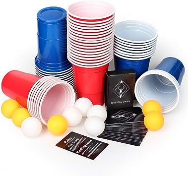 AOLUXLM Tazas de plástico, 50 Tazas de Cerveza Pong Tazas de Fiesta con 10 Bolas de